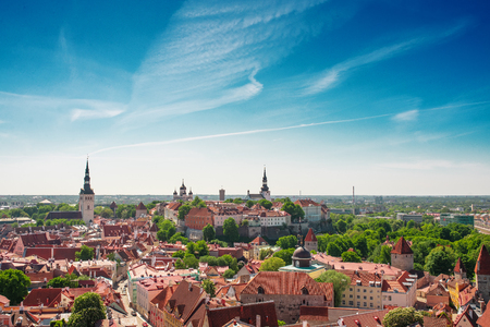 Scenic summer aerial panorama of the Old Town in Tallinn, Estonia 写真素材