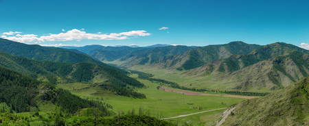 Landscape of a mountain valley. Chike-Taman road pass, Altai