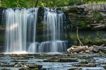 Keila waterfall in Estonia. Summer, long exposure ar daytime.