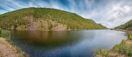 Mountain landscape. The dead mountain lake in the Altai Republic.