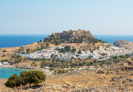 Greece, Rhodes, Lindos - Panoramic views of the bay in Lindos