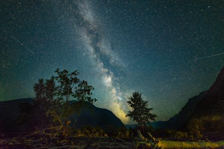 night sky with milky way on teletskoe lake 版權商用圖片