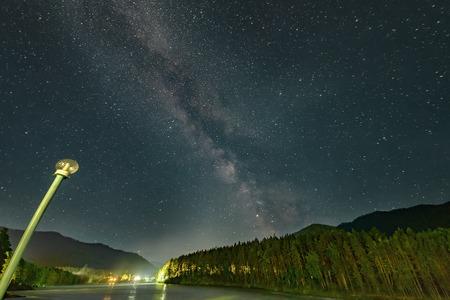 night sky with milky way and Katun river 版權商用圖片