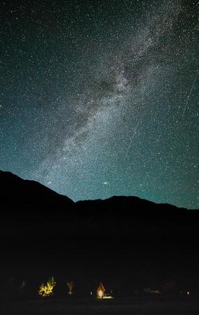 night sky with milky way and katu yaryk mountain