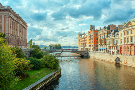 Stockholm, Sweden river cityscape. old city view