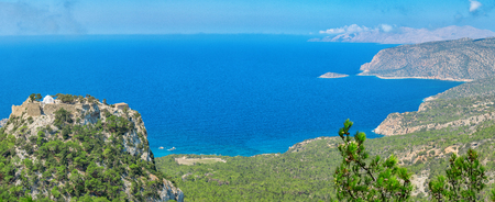 Overlooking the Venetian Castle at Monolithos built in 1480 by the Knights of Saint John, Rhodes Greece Europe 版權商用圖片