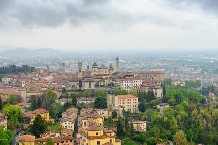 Panoramic view of the city of Bergamo, Lombardy, Italy