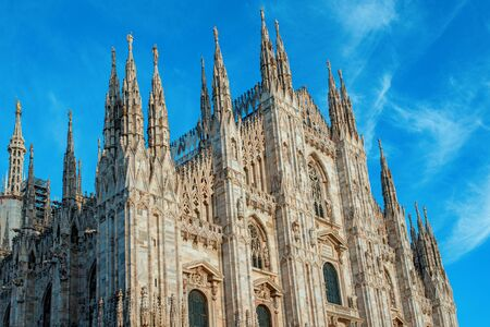 Duomo of Milan and blue sky. Milan Cathedral , Italy 版權商用圖片