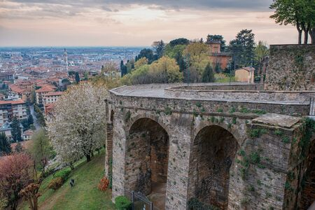 Old bridge on Via Sant Alessandro street to upper city Cita Alta in Bergamo.