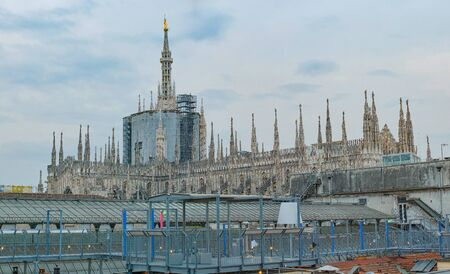 Duomo cathedral in Milan, from the roof, Italy. 版權商用圖片