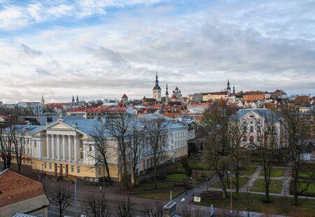 Tallinn, Estonia, old town skyline of Toompea Hill.