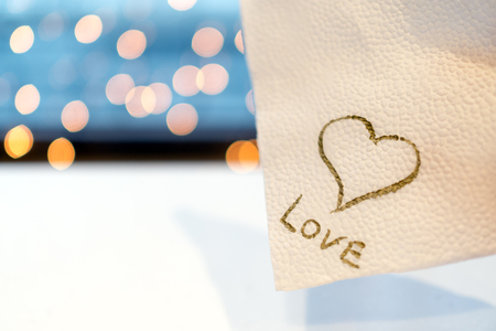 The cafe wrote a love message on a napkin. Valentines Day. Stock Photo