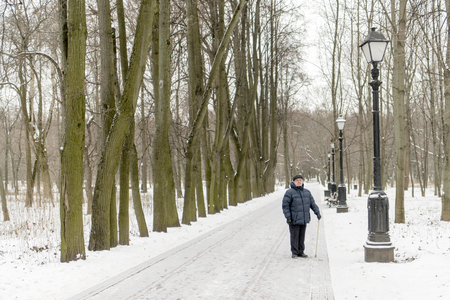 The man is an elderly pensioner standing in the park in the winter. High trees, bench, lantern. Tsaritsyno, Moscow.