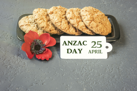 Australian cookies Anzac with Anzac DAy so we do not forget the message about the dark forest and slide. 25th of April.