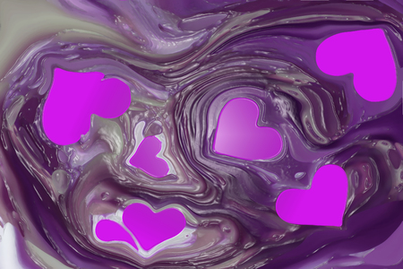 On an abstract purple background of pink hearts Stock Photo