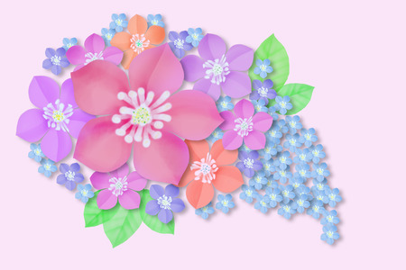 a bouquet of pink and blue flowers, mallow and forget-me-nots