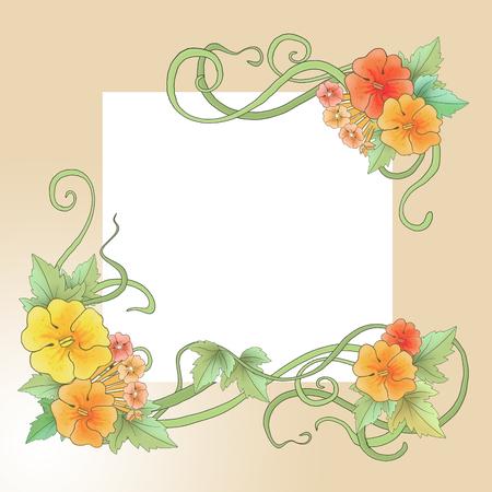 Floral ornament in Art-Nouveau style, spring motifs, illustrations