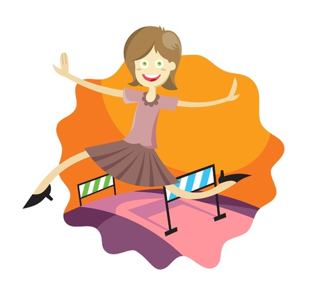 a vector illustration of a girl jumping an obstacle with happy face Illustration