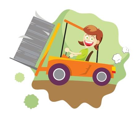 A vector illustration of a girl driving a forklift in .eps8 file Illustration