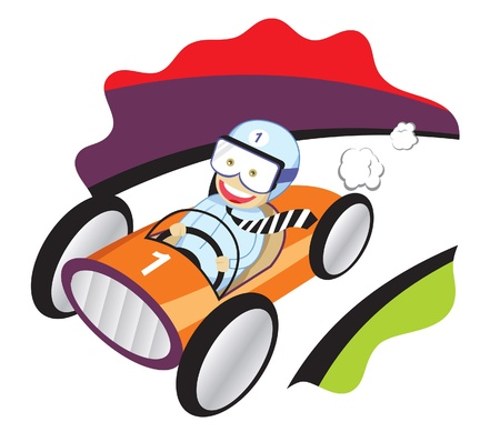 A vector illustration of a businessman driving a race car in .eps8 file