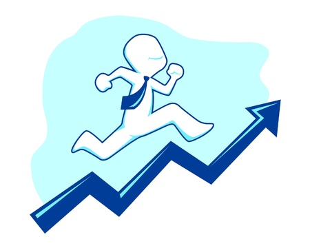 a vector illustration of a businessman climbing a graphic or chart