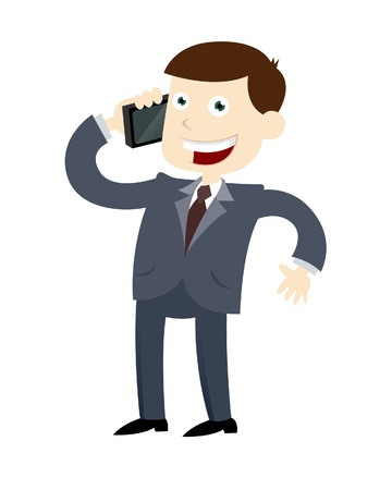 A vector illustration of a businessman making a phone call