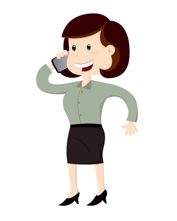 A vector illustration of a business woman on phone calling in  Illustration