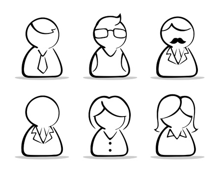 a collection of business people icon in black and white vector illustration Illustration