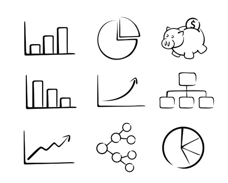A collection of business chart in vector illustration Illustration