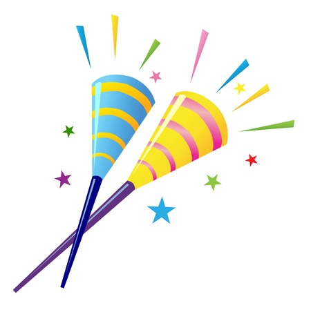 a vector illustration of a pair of party horn