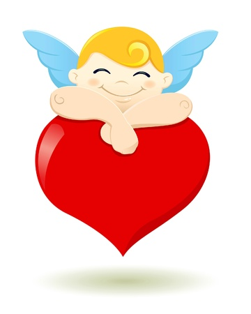 a vector illustration of a cupid falls asleep on a heart shape balloon in Illustration