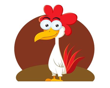 vector illustration of a Funny looking chicken cartoon