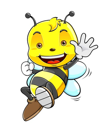 Cute honey bee waving hand Vector