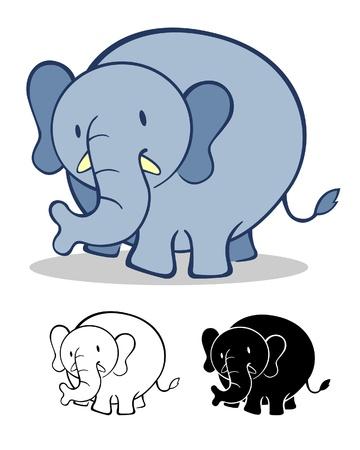 a vector illustration of a cute elephant Illustration