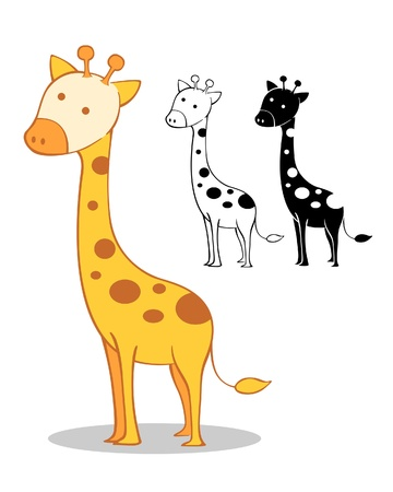 a vector illustration of a cute giraffe