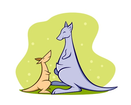 A illustration of a mother and baby kangaroo