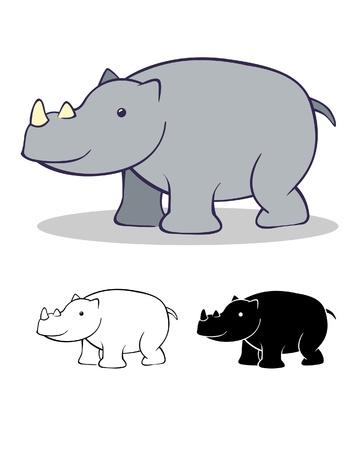 A  illustration of a cute rhinoceros  Illustration