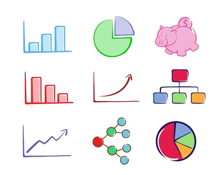 A collection of business charts  Illustration