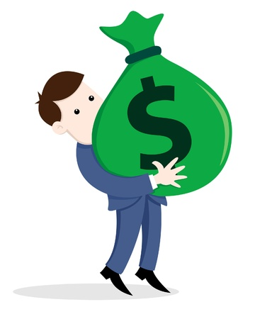 A illustration of businessman carry a bag of money  Illustration