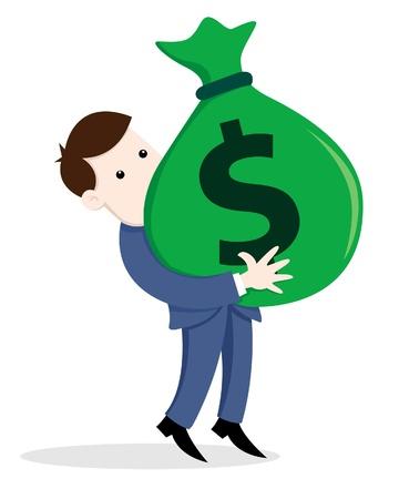 A illustration of businessman carry a bag of money  Illustration