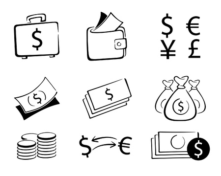 A collection of money and currency icon in illustration . Illustration