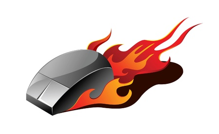 A  illustration of a Computer mouse on fire Illustration