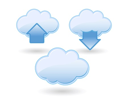 Icon set for cloud computing, upload and download. Illustration