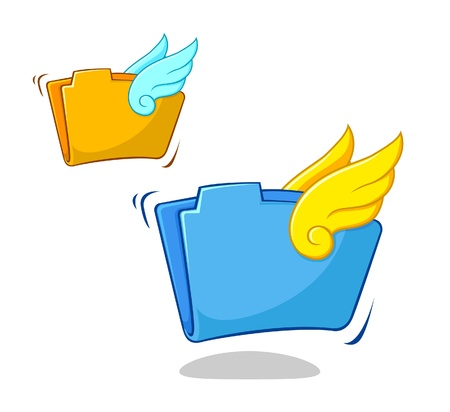 A illustration of a File folder with wings