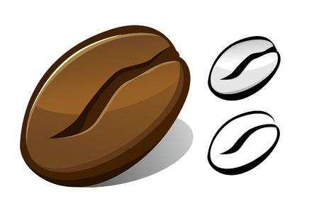 semilla de cafe: ilustración de grano de café a todo color y en blanco y negro.