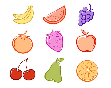 A collection of  illustration fruits