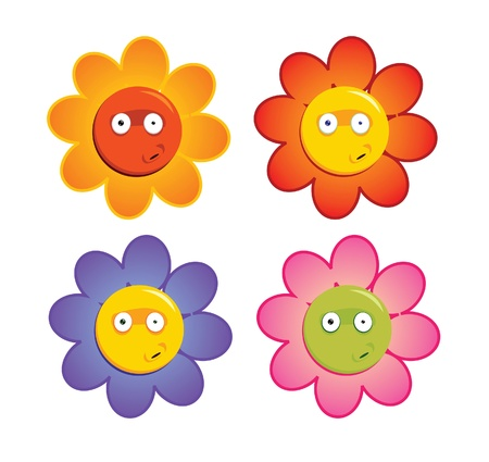 Cartoon flowers with funny expression Illustration