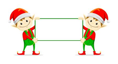 christmas elfs holding sign