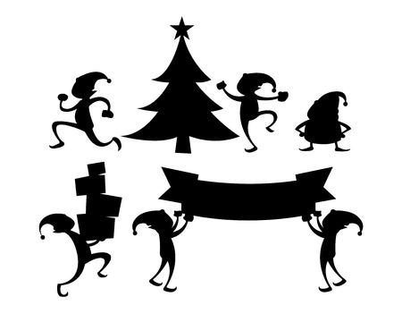 Elf silhouet set Stock Illustratie
