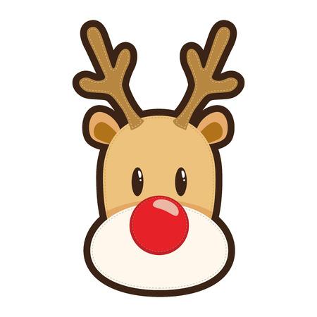 renna: Rudolf renna dal naso rosso Vettoriali